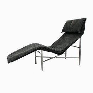 Schwarze Leder Chaise Longue von Tord Bjorklund, 1970er