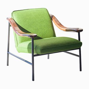 H. Russell Armchair with Walnut Armrests by Studio Brichet-Ziegler for Versant Edition