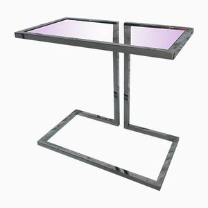 French Chromed Steel & Glass Side Table, 1960s