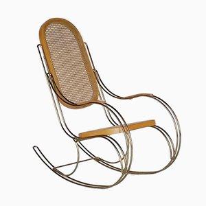 Rocking Chair en Metal et Rotin, 1970s