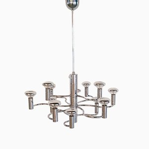 Vintage 12-Light Chrome Chandelier from Massive, 1970s