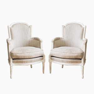 Antique French Louis XVI Bergères Chairs, 1780s, Set of 2