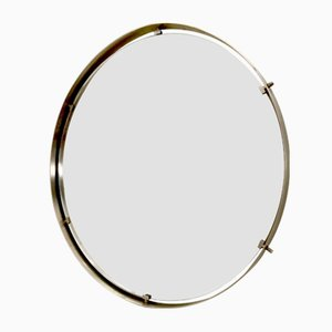 Round Italian Nickel-Plated Brass Wall Mirror, 1960s