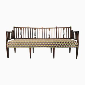 Rustic Cotton Chenille Bench, 1920s