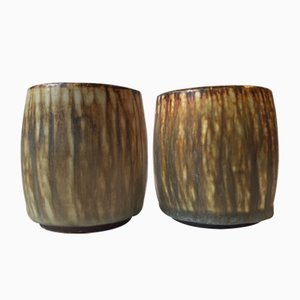 Mid-Century Taupe Hare Fur Glaze Vases by Gunnar Nylund for Rörstrand, Set of 2