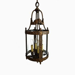 Vintage Italian Bronze Lantern with Flowers and Vines, 1950s
