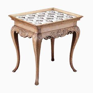 Tavolo antico con piastrelle manganese, 1800