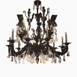 Lámpara de araña modelo Taif grande de cristal de Murano negro y amatista de Barovier & Toso, 2005