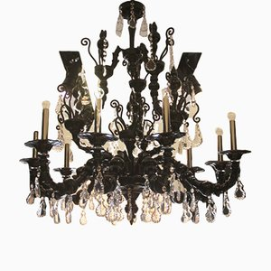 Large Model Taif Chandelier in Black Murano Glass and Amethyst from Barovier & Toso, 2005