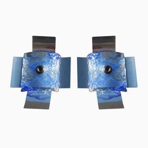 Apliques Pop Art en azul de cristal de Murano artístico de Carlo Nason para Mazzega, años 70. Juego de 2