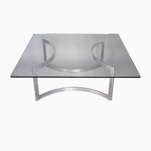 Mesa de centro de vidrio grueso y acero cromado de Dassas, 1963