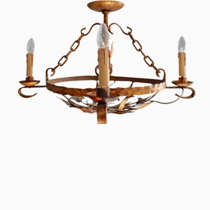 Antique Gilt Iron Tole Round Chandelier, 1850s