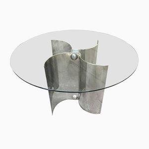 Mesa de comedor italiana de acero inoxidable y vidrio, años 70