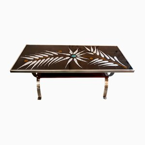 Table Basse Carrelée Motif Fougère, 1960s