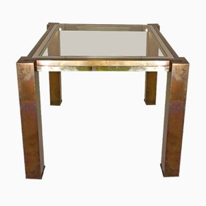 Table Basse Vintage en Vert, Laiton et Chrome par Willy Rizzo