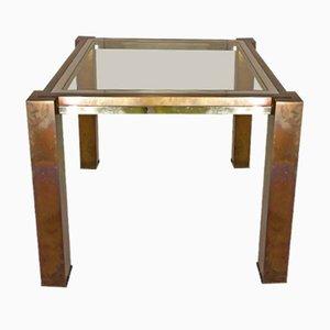 Tavolino da caffè vintage in vetro, ottone e placcato in cromo di Willy Rizzo