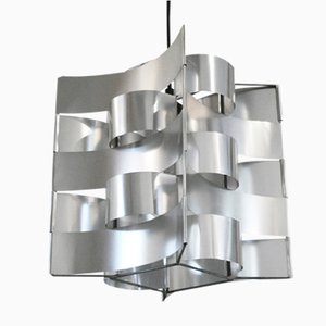 French Aluminum Pendant Lamp by Max Sauze, 1970s