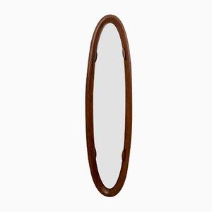Espejo de pared italiano vintage ovalado con marco de palisandro