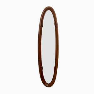 Vintage Italian Oval Wall Mirror with Rosewood Frame