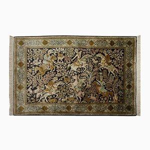 Alfombra Hunting Oriente Medio de seda, años 50