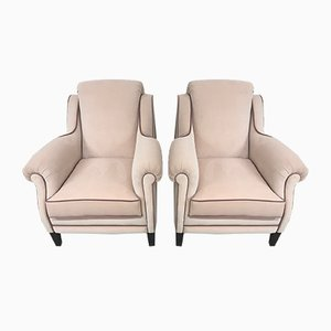 Armchairs in Pink Velvet, 1950s, Set of 2