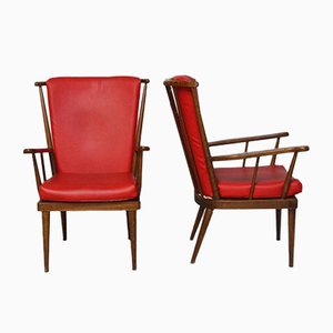 Red Éventail Armchairs from Baumann, 1950s, Set of 2