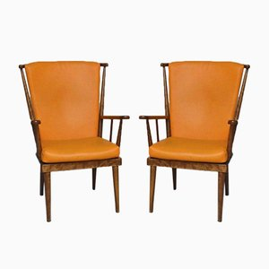 Orange Éventail Armchairs from Baumann, 1950s, Set of 2