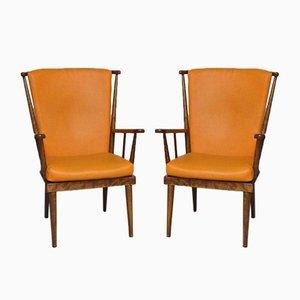 Poltrone Eventail arancioni di Baumann, anni '50, set di 2