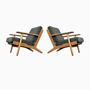Mid-Century Danish GE-290 Oak Framed Armchairs by Hans J. Wegner for Getama, Set of 2