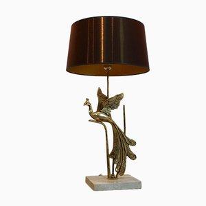 Lámpara de mesa Pavo real escultural de travertino y metal dorado, años 70