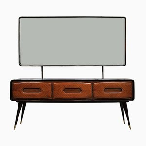 Mid-Century Italian Chest of Drawers in Rosewood with Mirror