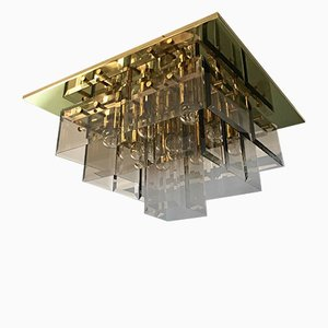 Geometric Brass and Smoked Glass Ceiling Lamp from Hillebrand, 1960s