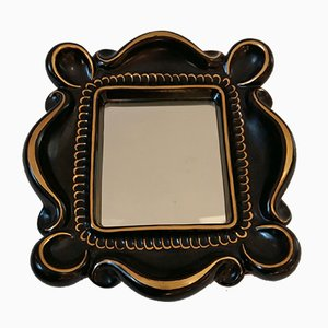 French Ceramic Framed Mirror, 1950s