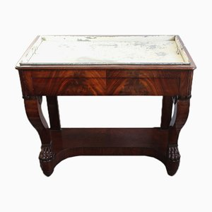 Mesa consola francesa antigua con macetero