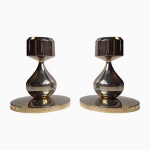 Candeleros modernistas plateados en oro de 24 quilates de Hugo Asmussen, años 60. Juego de 2