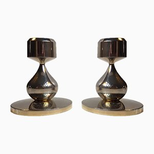 Modernist 24 Carat Gold Plated Candle Sticks by Hugo Asmussen, 1960s, Set of 2