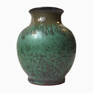 Glasierte Kristalline Mid-Century Töpferei Vase von Bo Fajans, 1970er