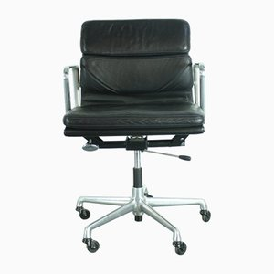 Black Leather Soft Pad Group Chair by Charles & Ray Eames for Herman Miller, 1980s