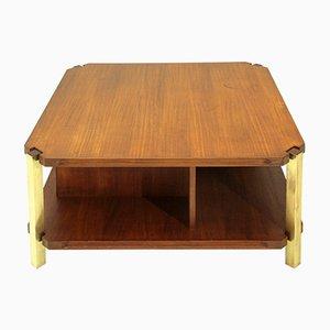 Italian Teak Coffee Table with Brass Legs, 1960s