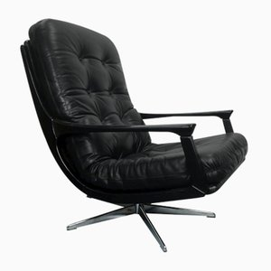 Black Leather Office Chair, 1960s