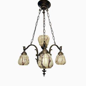 Lámpara de araña francesa vintage de cobre