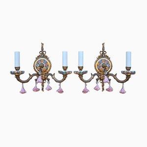 Applique vintage in ottone e porcellana con fiori, set di 2