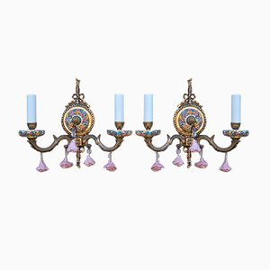Vintage Brass and Porcelain Floral Sconces, Set of 2