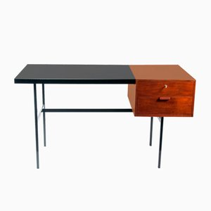 Mid-Century Walnut Desk with Black Lacquered Top by Pierre Paulin for Thonet, 1960s