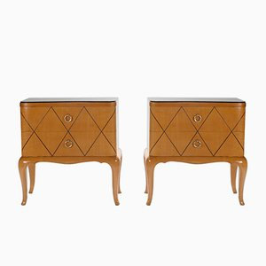 Sycamore Bedside Tables by René Prou, 1940s, Set of 2