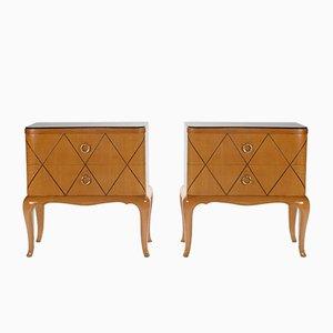 Tables de Chevet en Sycomore par René Prou, 1940s, Set de 2