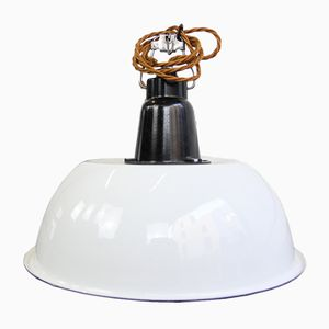 White Enamel & Bakelite Soviet Factory Light, 1950s