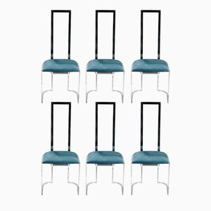 Italian Metal & Plexiglass Chairs, 1970s, Set of 6