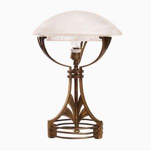 Lampada da tavolo Art Nouveau in ottone e vetro