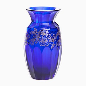 Mid-Century Cobalt Glass Vase with Galvanic Silver Decorations